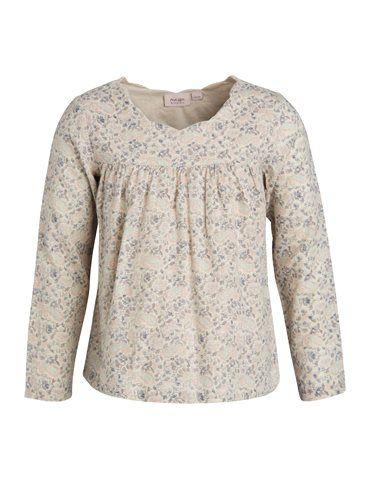 Bluse i smukt blomsterprint  - Creme