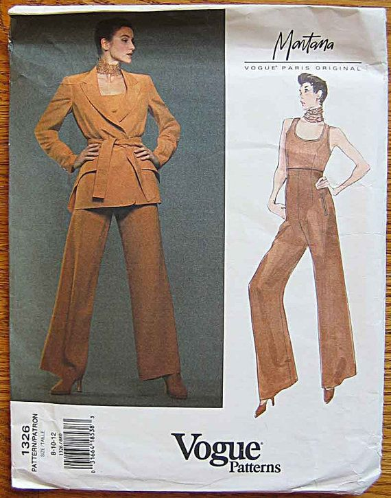 Montana Misses\' Jacket, Top and Wide Legged Pants Vogue 1326 Sewing ...