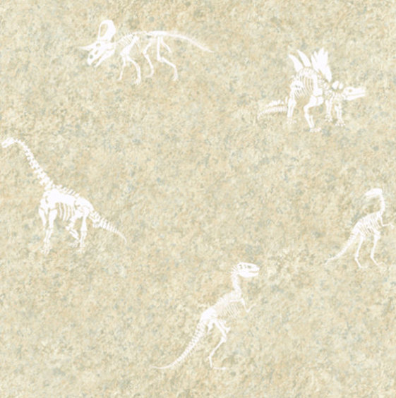 Dinosaur Fossil On Faux Stone Texture Wallpaper White
