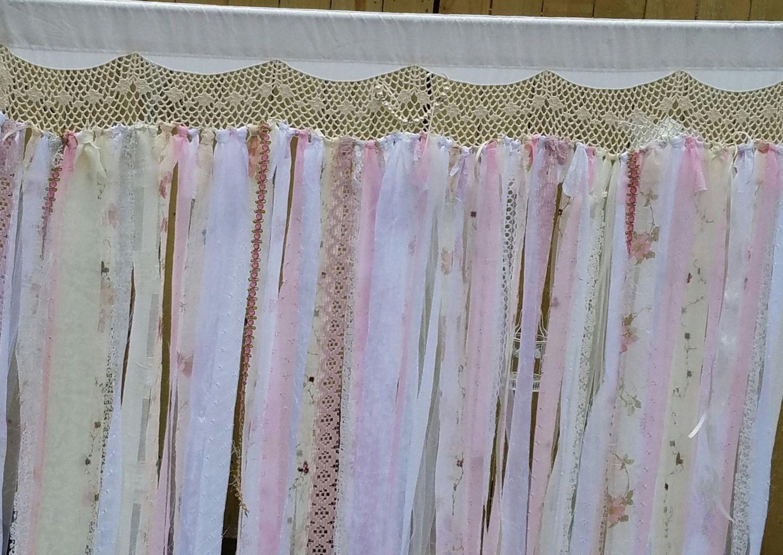 Shabby Chic Curtain Wedding Curtain Backdrop Ribbon Vintage Lace Rag  Garland French Farmhouse Curtain 7u0027 Long