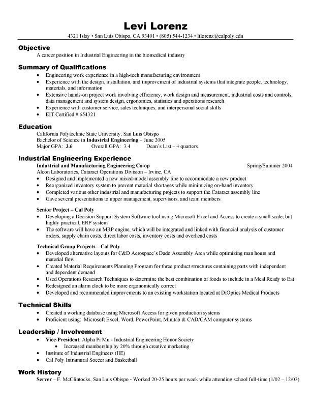 Assembly Line Worker Resume Simple Resume Examples Engineering  Pinterest  Resume Examples And Template