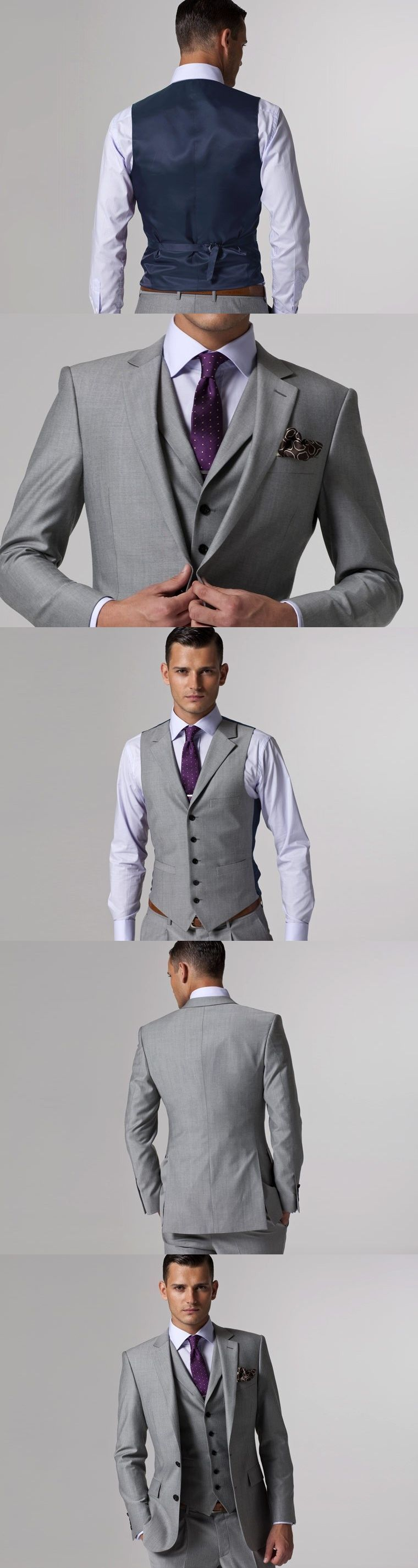Gray wedding tuxedo custom made suits groom suit mens gray tuxedo