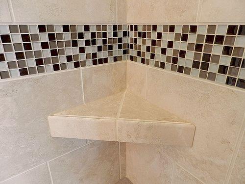 Built-in tile shelf.