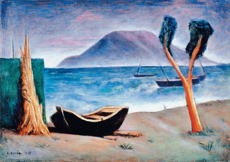 Carlo Carrà, Marina con albero, Olio su tela, 1930, Mart, Rovereto