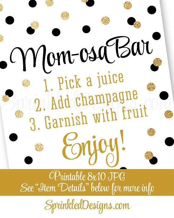 Momosa Bar Sign - Black Gold Glitter Mom-osa Mimosa Bar Baby Shower Ideas - Baby Shower Sip N See Party Sign - Printable 8x10 Drink Sign - SprinkledDesigns.com