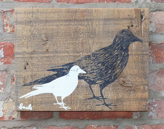 Screen printed birds on reclaimed wood by Philip Sachs | For