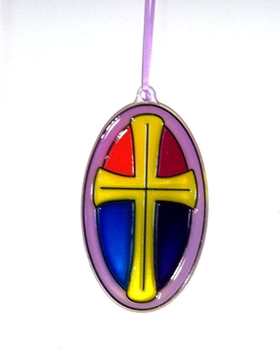 ORNAMENT  CrossStained Glass Look  Acrylic  by CreativeXpression1, $3.50