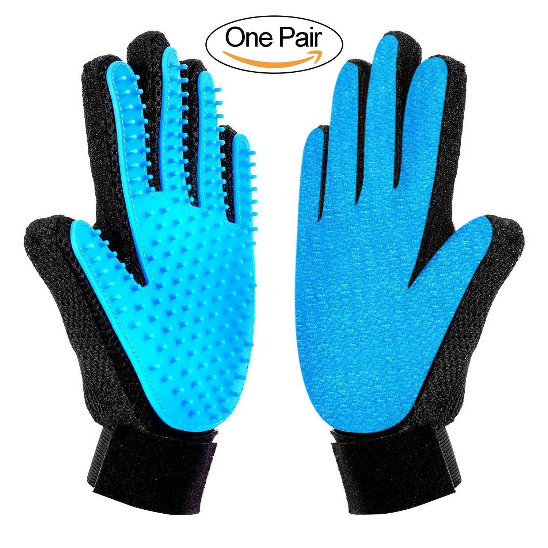 Bascolor Pet Grooming Glove Deshedding Brush Gloves Pets