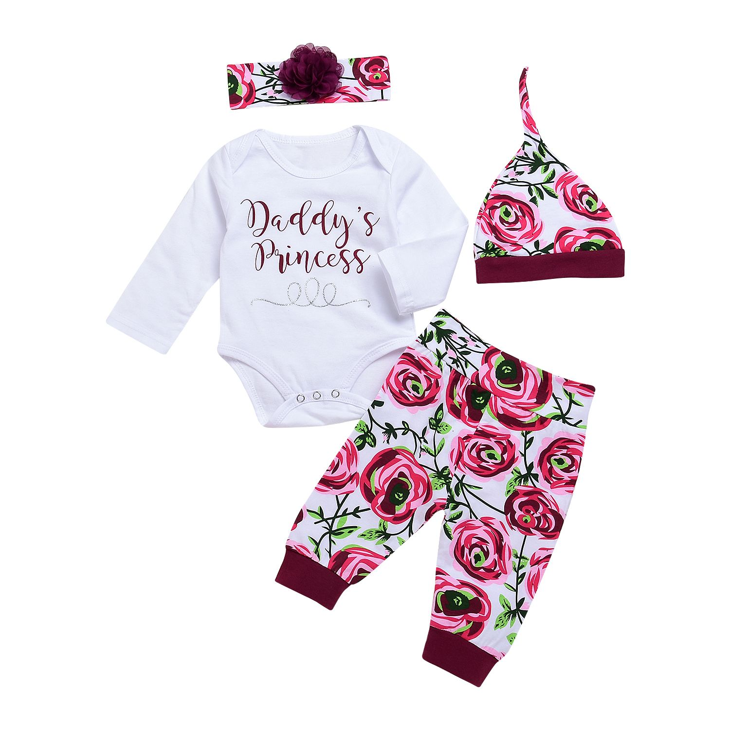 4 piece Letter Bodysuit Rose Print Pants Hat and Headband for Baby