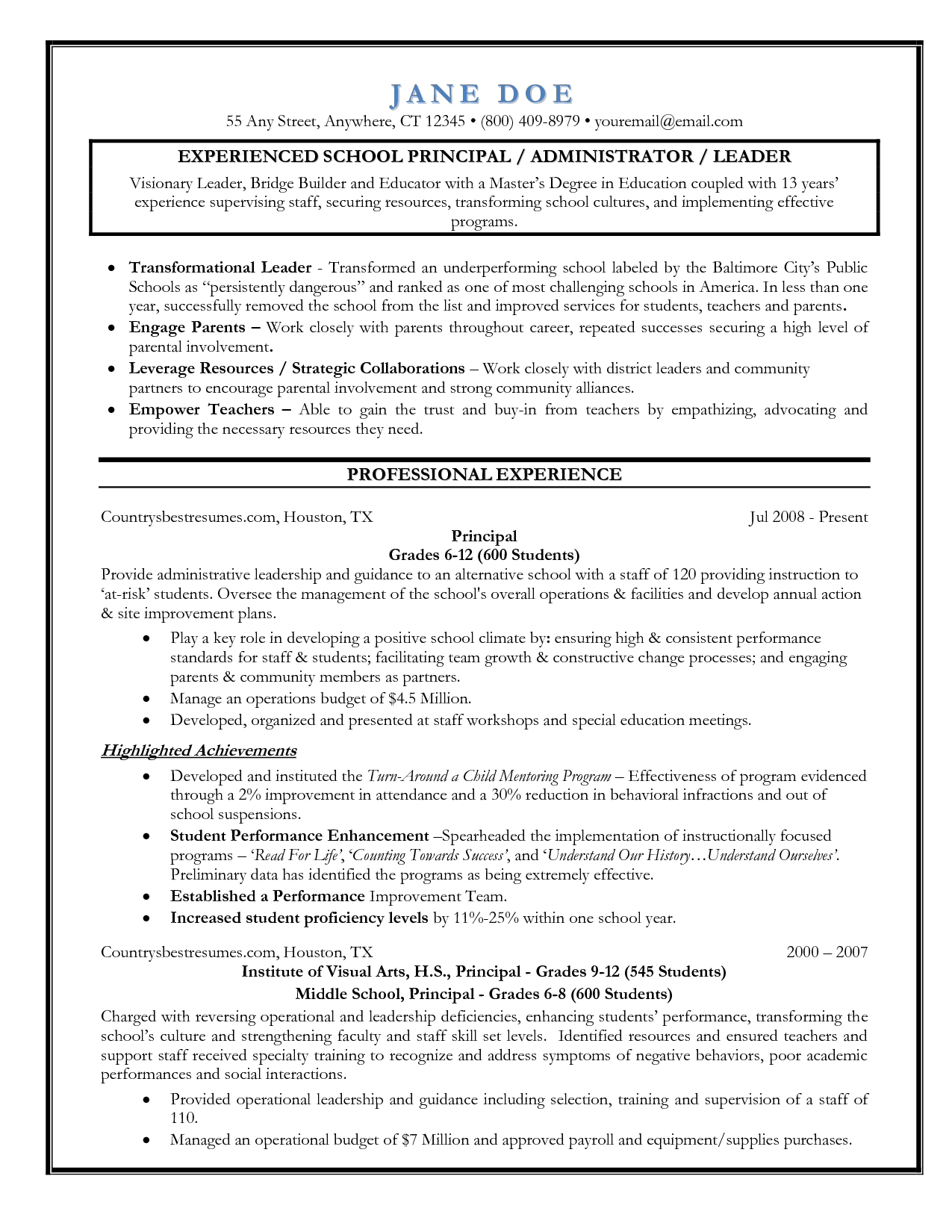 Entry Level Assistant Principal Resume Templates | Senior Educator    Principal Resume Sample  Educational Resume Format