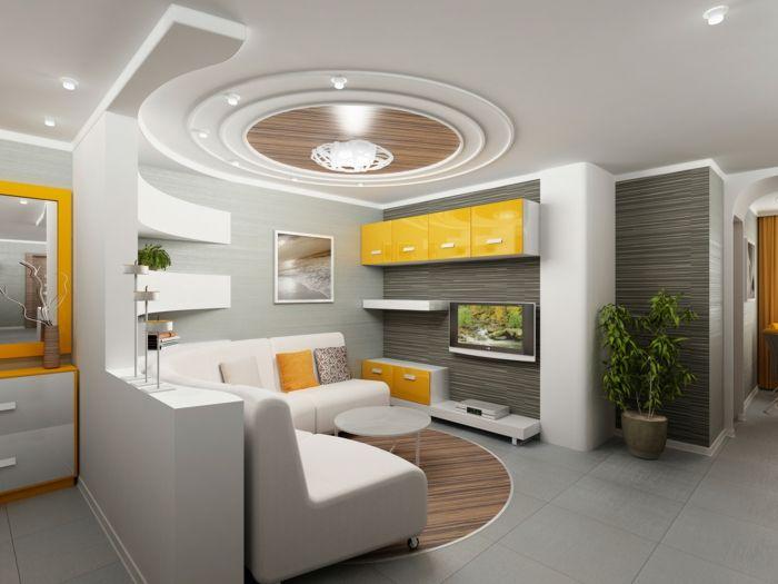 luxuriöses modell deckengestaltung - unikales wohnzimmer - wohnzimmer gestalten orange
