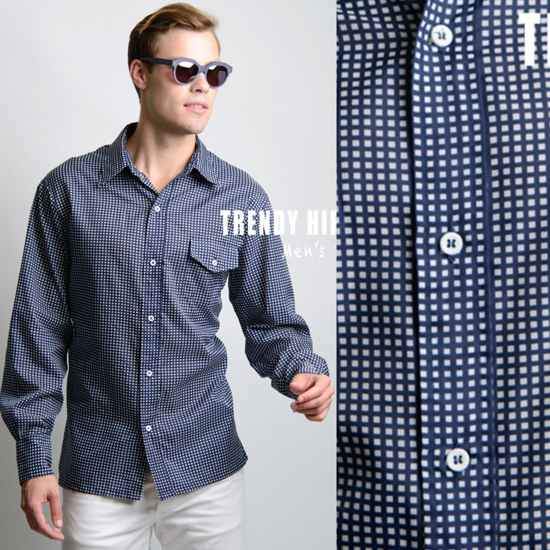 Men's Vintage shirt Men's 70s shirt Men's Top Vintage Blue shirt Vintage top Men's Blue shirt Dress Shirt - L