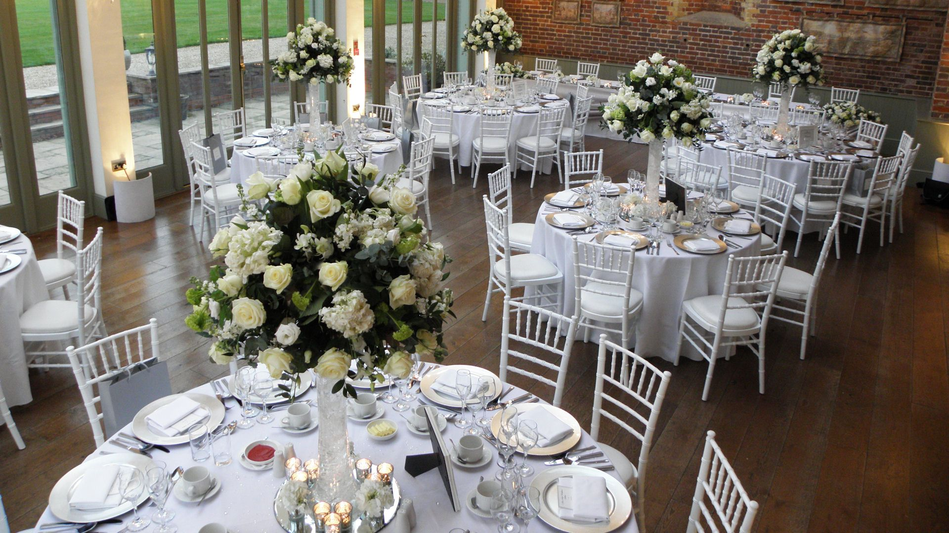 White Wedding at Offley Place with White Chiavari Chairs ...