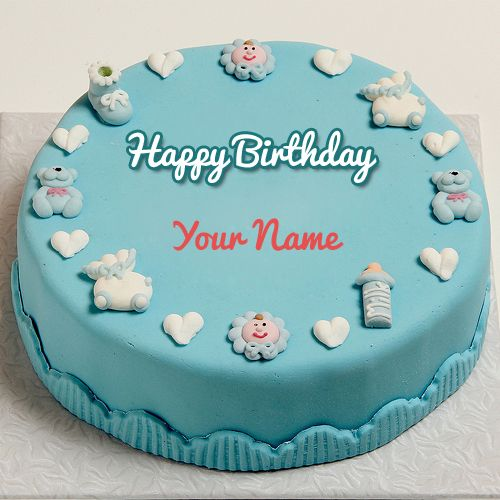 Write Name On Happy First Birthday Cute Toys Cake Kids Cake With