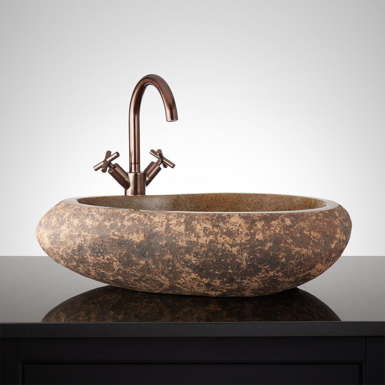 Nangchen Natural Stone Vessel Sink Signature Hardware Sink