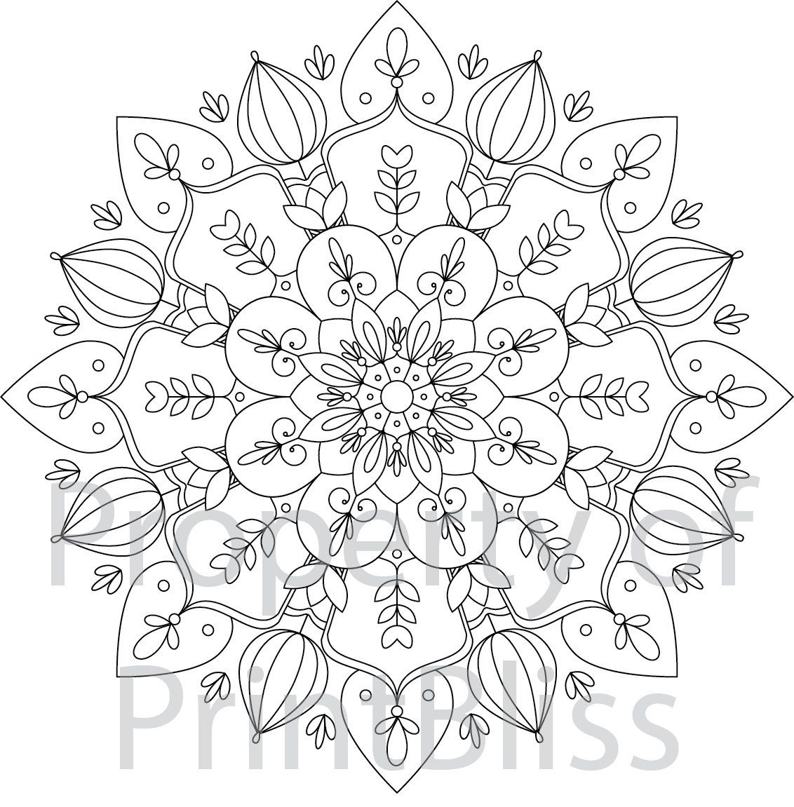 6 Flower Mandala printable coloring