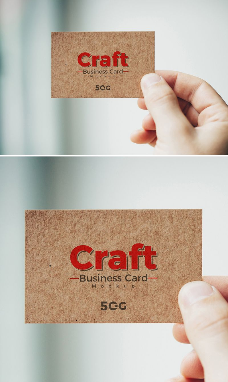 Free Man Holding Craft Business Card Mockup PSD 2018