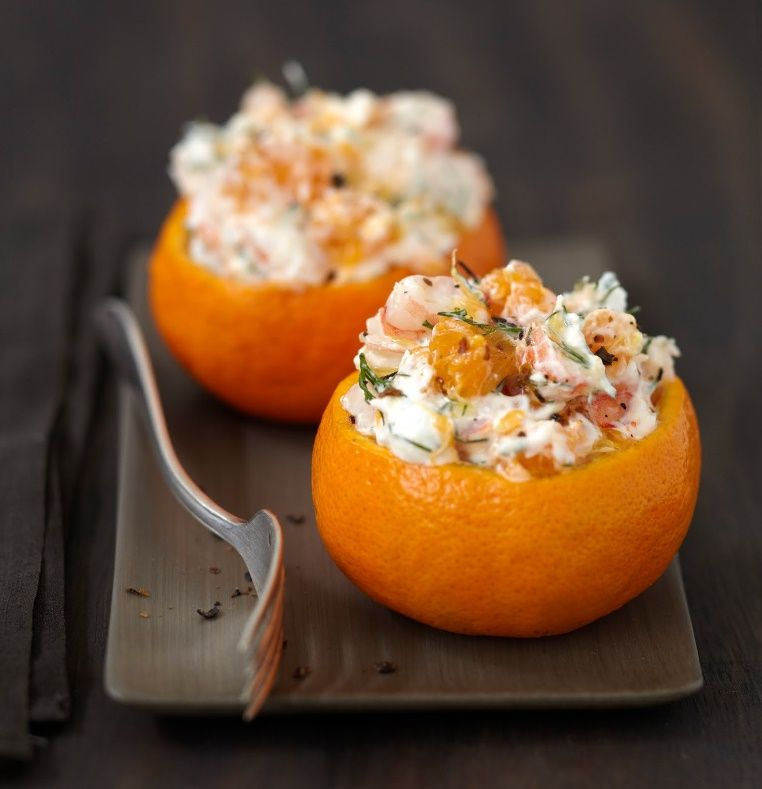 Clementines crevettes carre frais a table for Idee entree facile