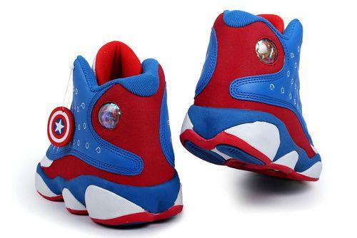 newest c048b ee082 Captain America Air Jordan 13 Dc Comic Themed Blue White ...