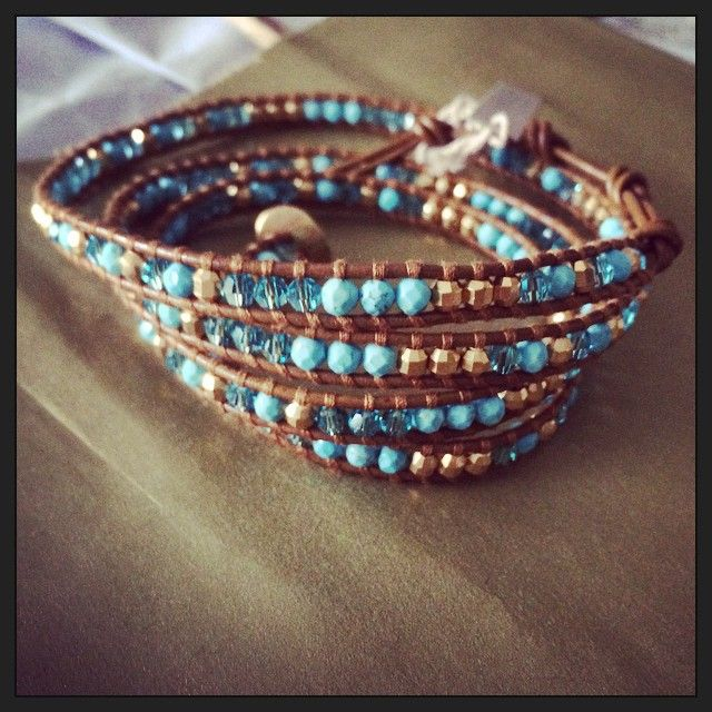 Spring 15' arrival. Chan Luu turquoise and gold wrap bracelet.