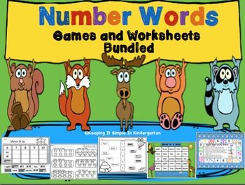 This set provides worksheets to help your little ones with reading number words. The pages are differentiated. They begin by simply having students count and match number words and progress to reading simple sentences.The pages are decorated with animals and insects so they are perfect to use any time of the year.This set also  includes seven games to help your little ones practice reading and writing number words.The games are great to be used at a center or with a partner or even with the…