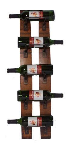 NEW AUTHENTIC BARREL STAVE 5 BOTTLE WALL WINE BOTTLE RACK MADE INE THE USA