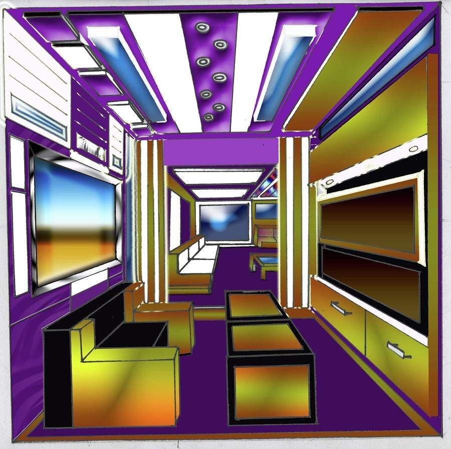One point perspective living room drawing - One Point Perspective Interior Design Arohanai Savana Smith