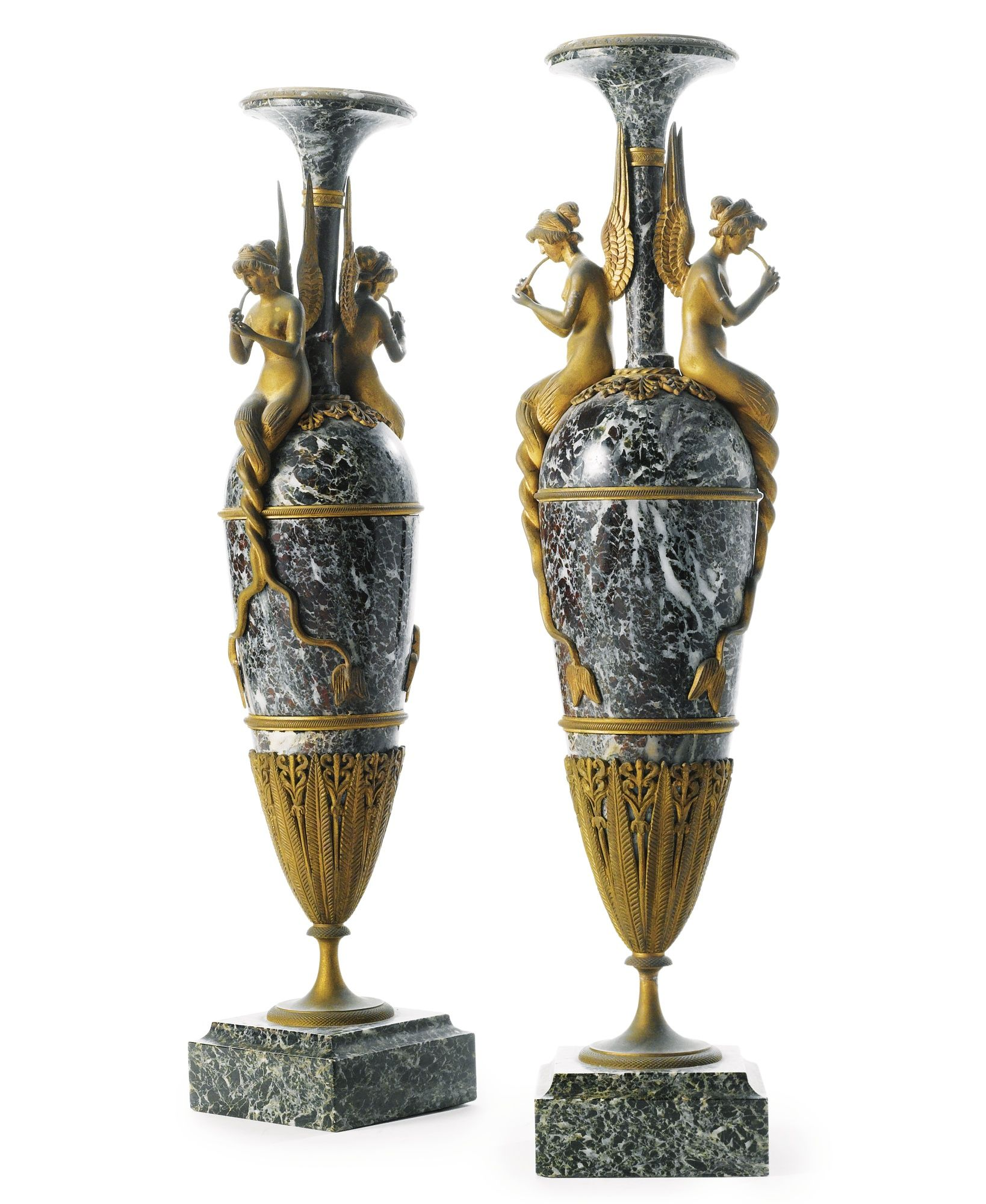 *A PAIR OF EMPIRE STYLE GILT BRONZE MOUNTED LEVANTO ROUGE MARBLE URNS AFTER THE MODEL BY CLAUDE GALLÉ France, circa 1890s
