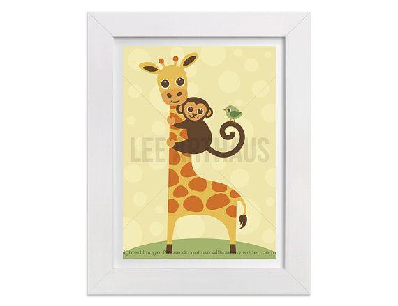 233 Giraffe Print Giraffe Monkey and Bird Wall Art by leearthaus ...