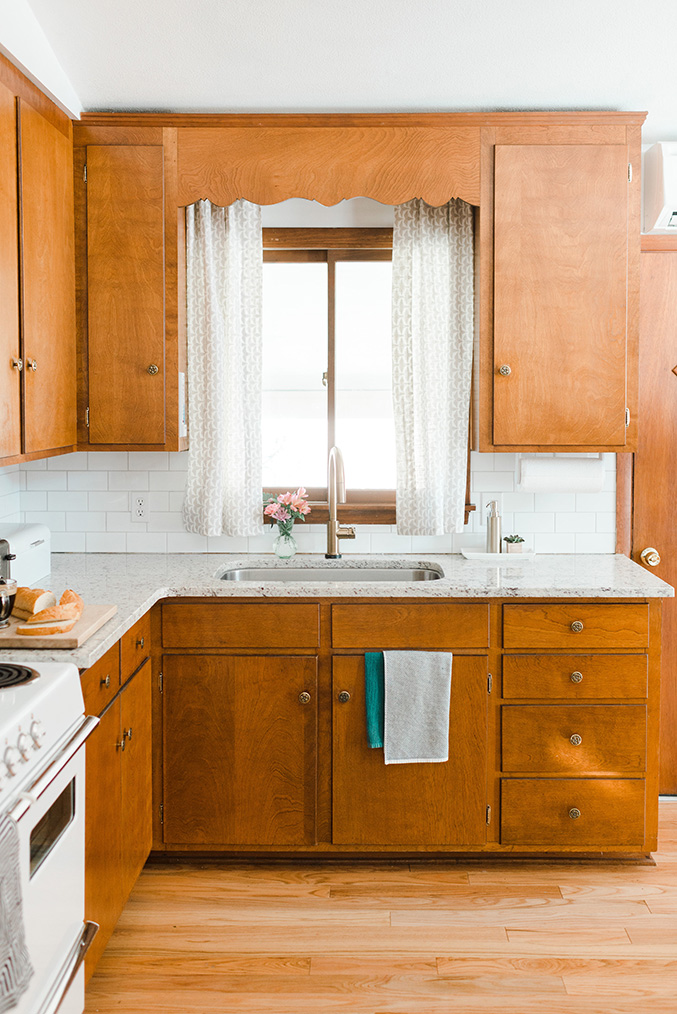Our Budget Friendly MidCentury Kitchen Makeover - Vintage kitchen cabinets, Kitchen renovation, Natural wood kitchen cabinets, Mid century modern kitchen, Modern kitchen, Refacing kitchen cabinets - Dream Green DIY