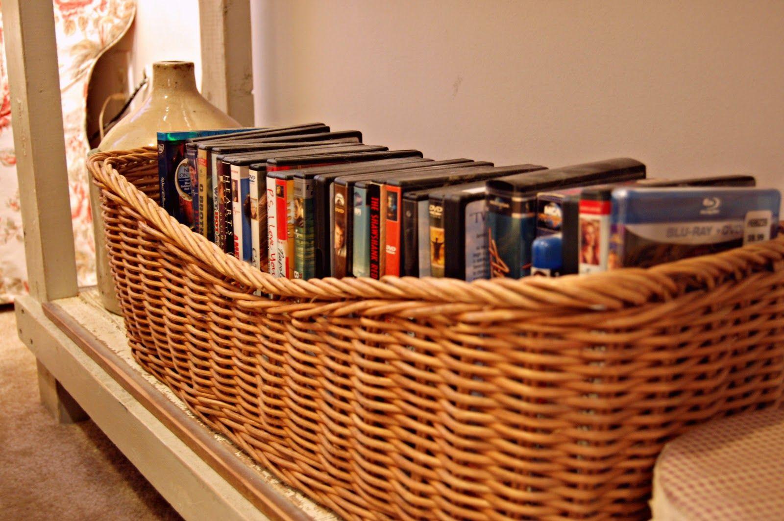 Amazing Long Wicker Basket Used For DVD Storage