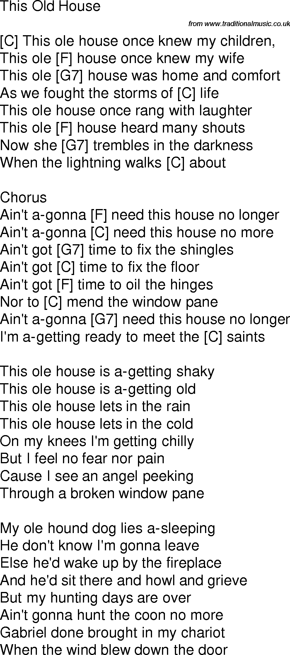 Old Time Song Lyrics With Chords For This Old House C David A Bass