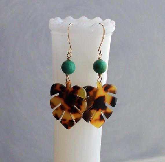 Monstera Leaf Earrings – Tortoise Earrings – Tortoiseshell Earrings – Tortoise Shell Earrings…