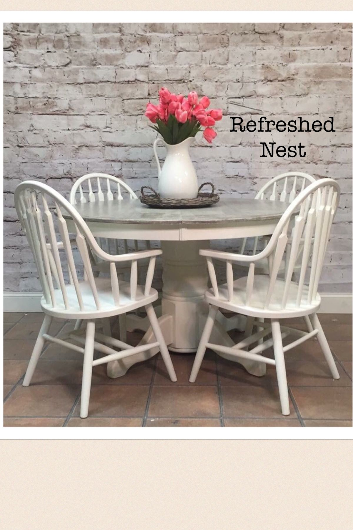 Farmhouse gray and white table and 4 chairs 48 round
