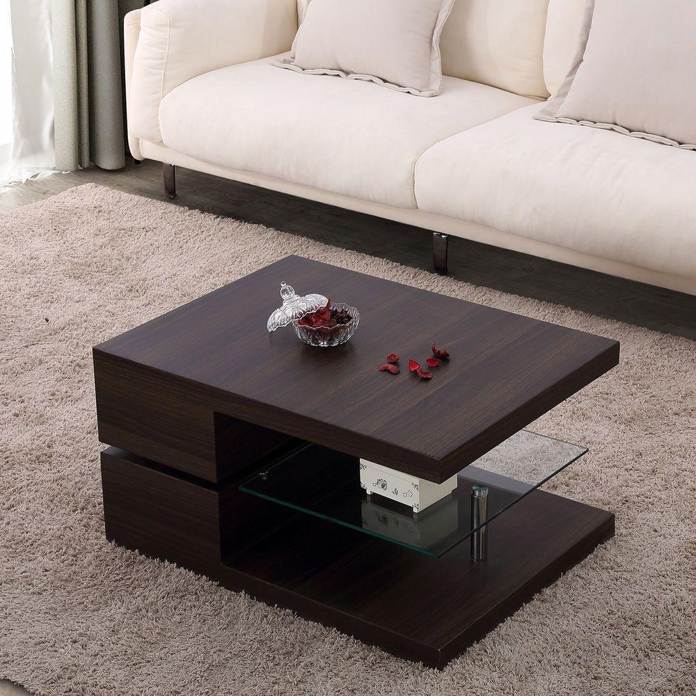 Modern Rectangular Rotating Coffee Table Swivel Wood Living Room W Glass Uenjoy Modern Coffee Table Living Room Wood Coffee Table White [ 1000 x 1000 Pixel ]