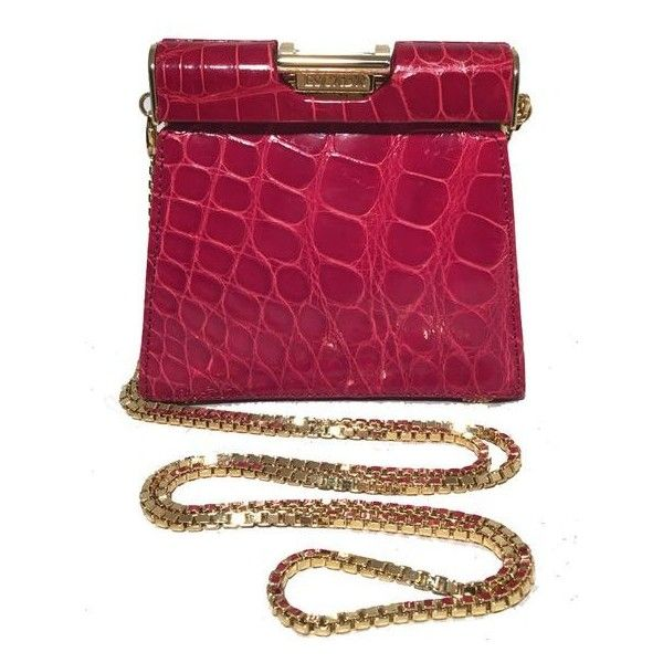 Pre-Owned Escada Vintage Red Alligator Mini Evening Bag ($1,466) ❤ liked on Polyvore featuring bags, handbags, red, vintage handbags, chain strap purse, suede handbags, evening bags and purple handbags