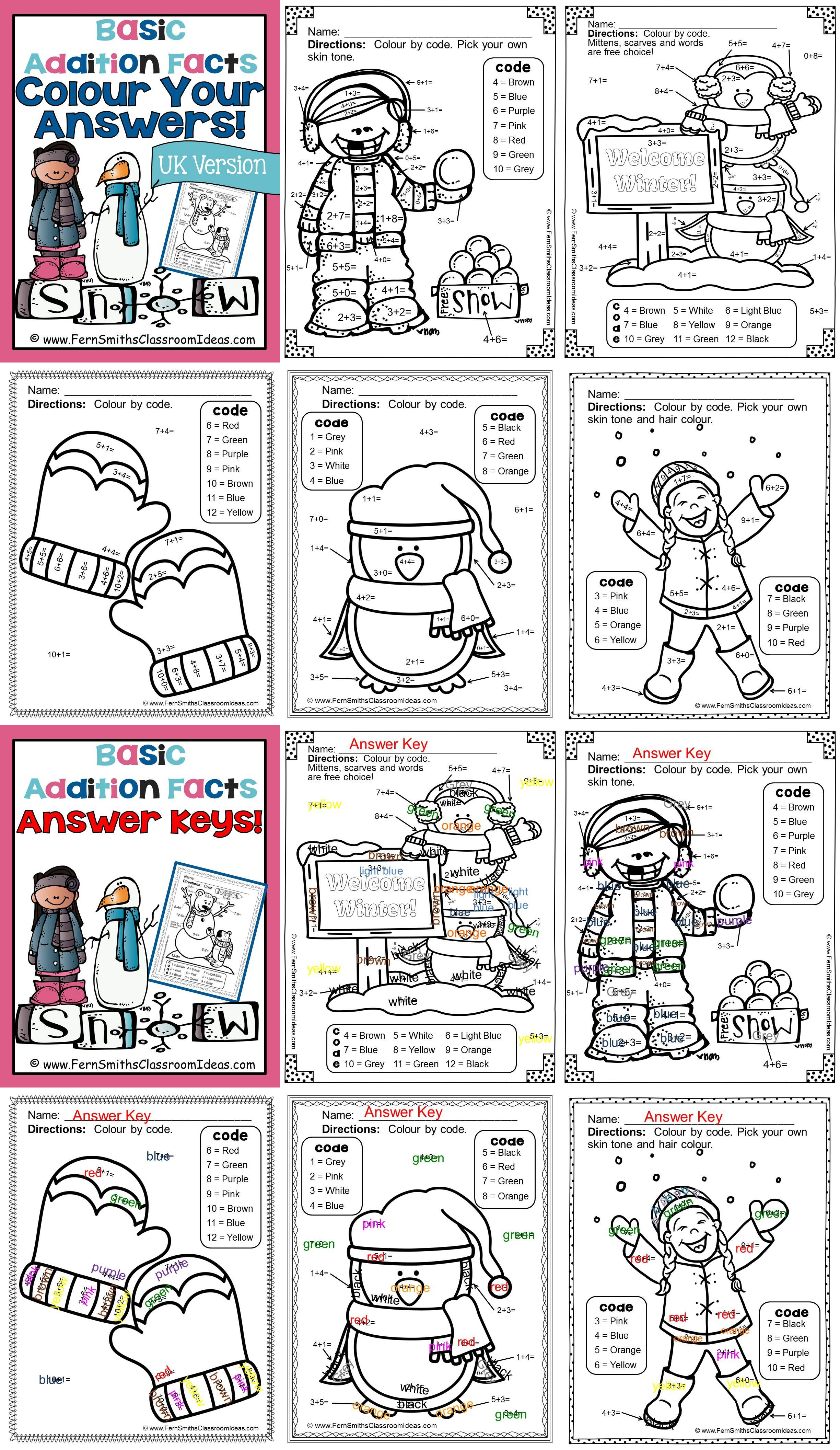 Colour By Numbers Winter Math Addition Facts Uk Version