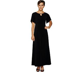 Susan Graver Regular Liquid Knit Maxi Dress With Flutter Sleeves In