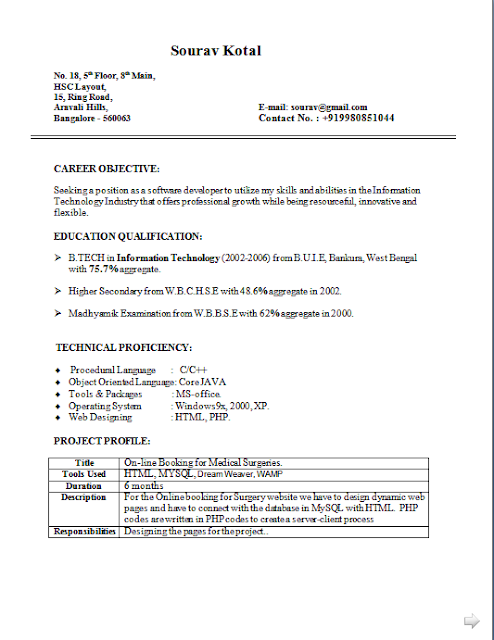 Curriculum Vitae Of A Student Free Download Sample Template