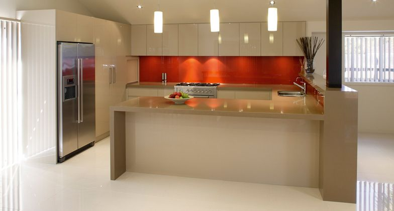 caesarstone mocha kitchen counters with waterfall light cream cabinets visit