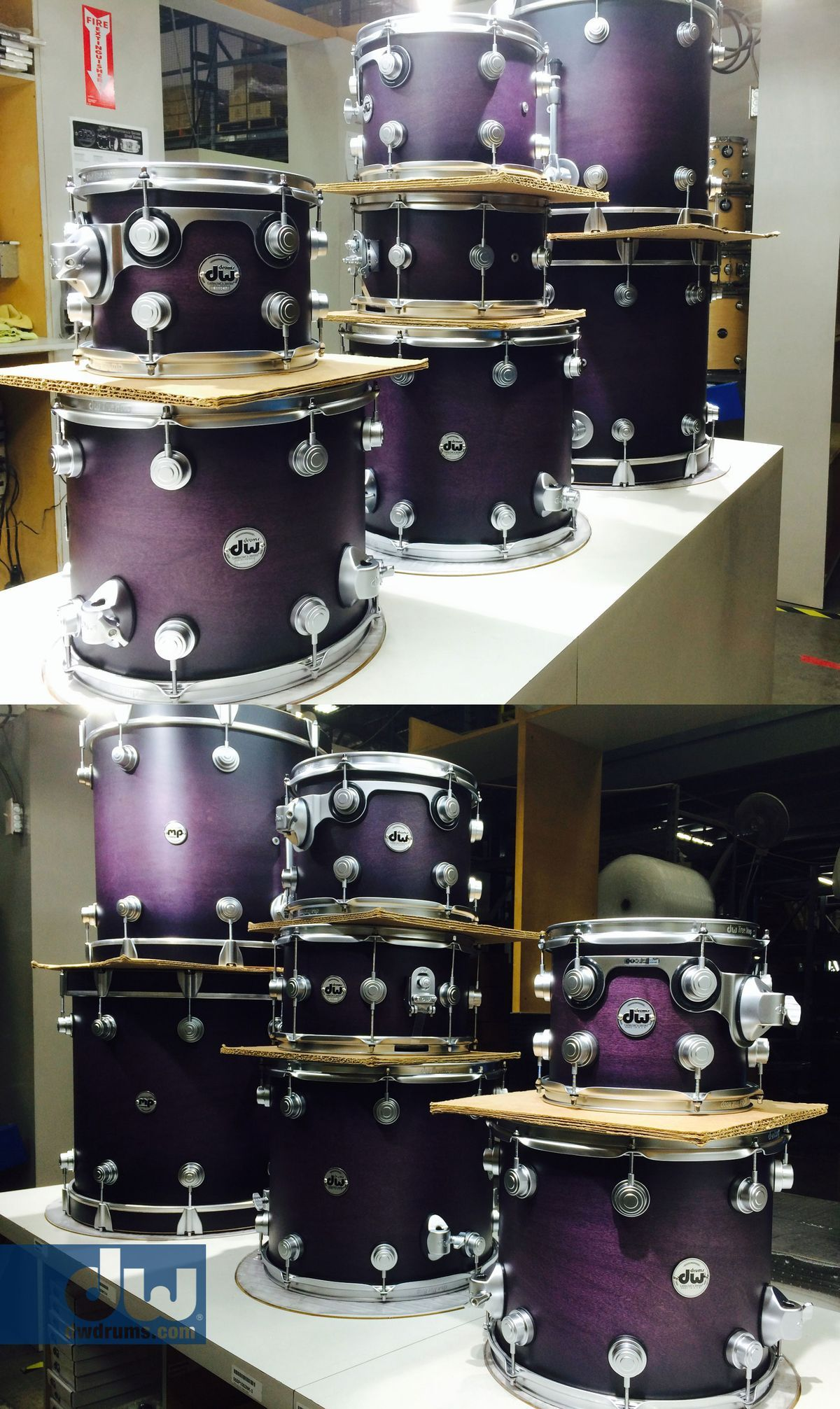 Dw Drums Collector Series Hard Satin 0 Purple To Black Burst With Chrome Hardware Double Bass Drum SetDrums