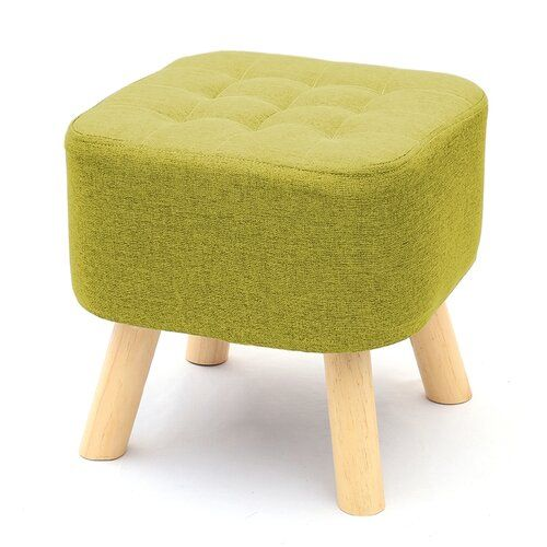Beckwith Footstool 17 Stories Upholstery Colour Green Upholstered Footstool Wooden Footstool Leather Footstool