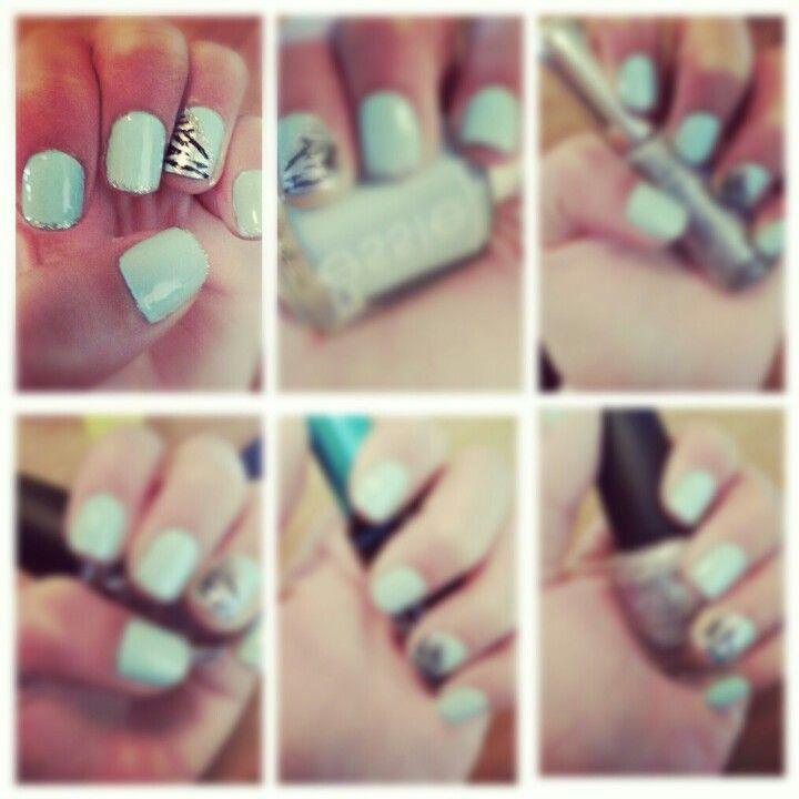 mint zebra nails!!!!