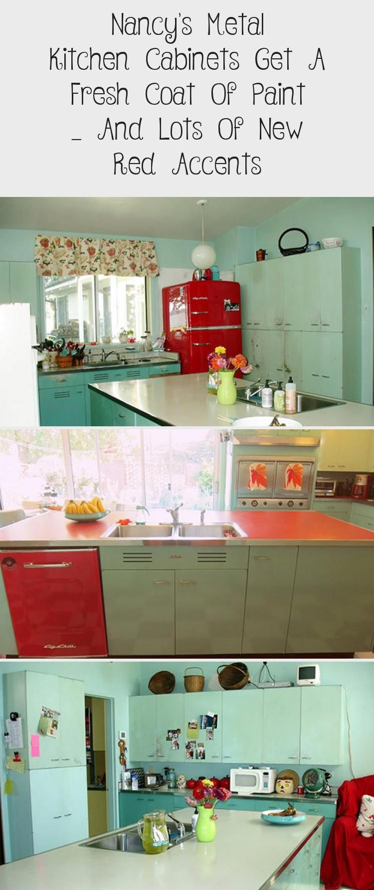 Nancy S Metal Kitchen Cabinets Get A Fresh Coat Of Paint And Lots Of New Red Accents In 2020 Metal Kitchen Cabinets Metal Kitchen Vintage Kitchen Sink