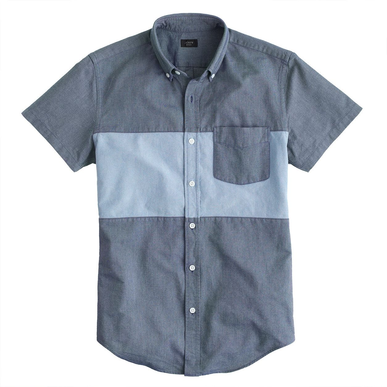 Short-sleeve pieced vintage oxford shirt