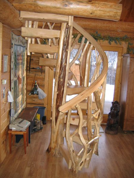 Open Log Stairs: Custom Spiral Log Staircases - Spiral Log Stairs
