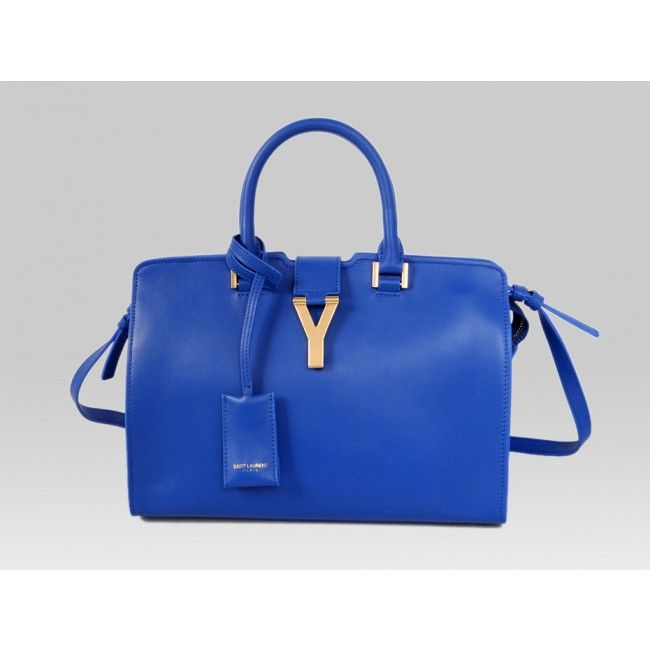 226335f7e0e1 Saint Laurent Petit Cabas Y in Blue Leather (311210 BJ50J 1001 ...