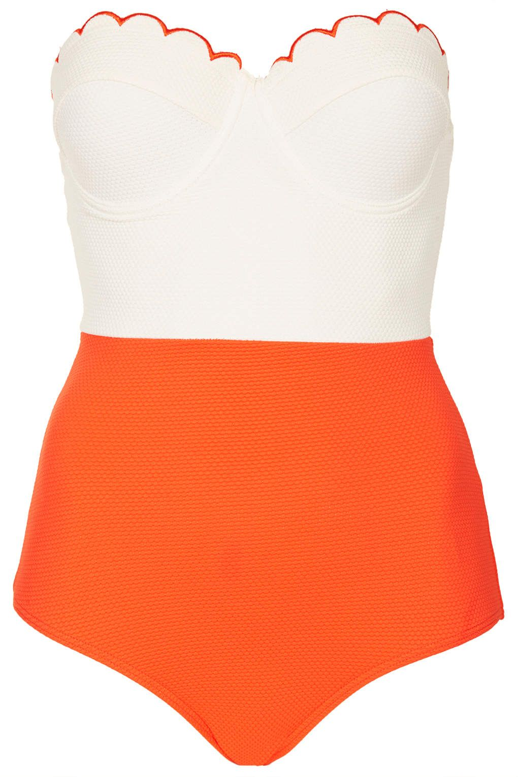 c84dbab939d23 Tomato and Cream Scallop Swimsuit - Swimsuits - Swimwear - Clothing -  Topshop USA