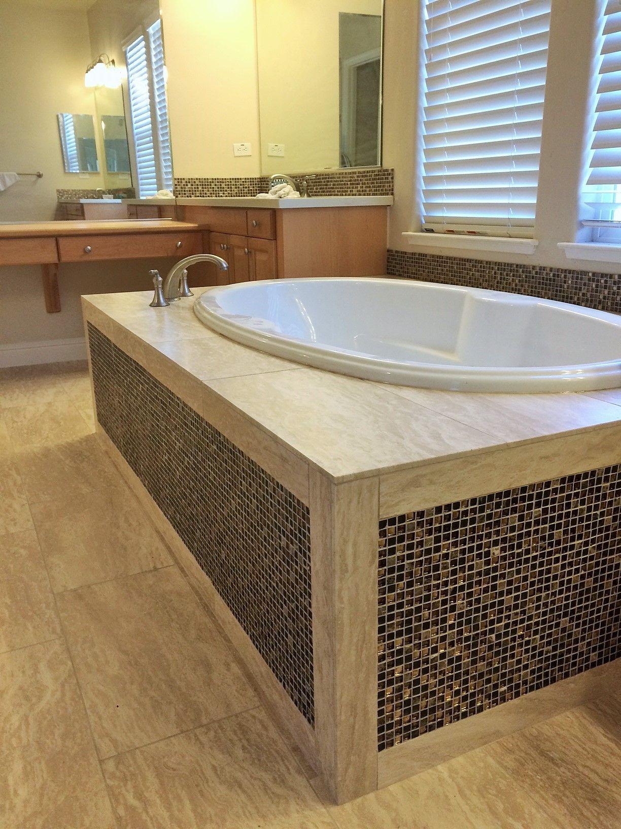 Modern bathtub design featuring authentic Durango Veracruz Vein-Cut ...
