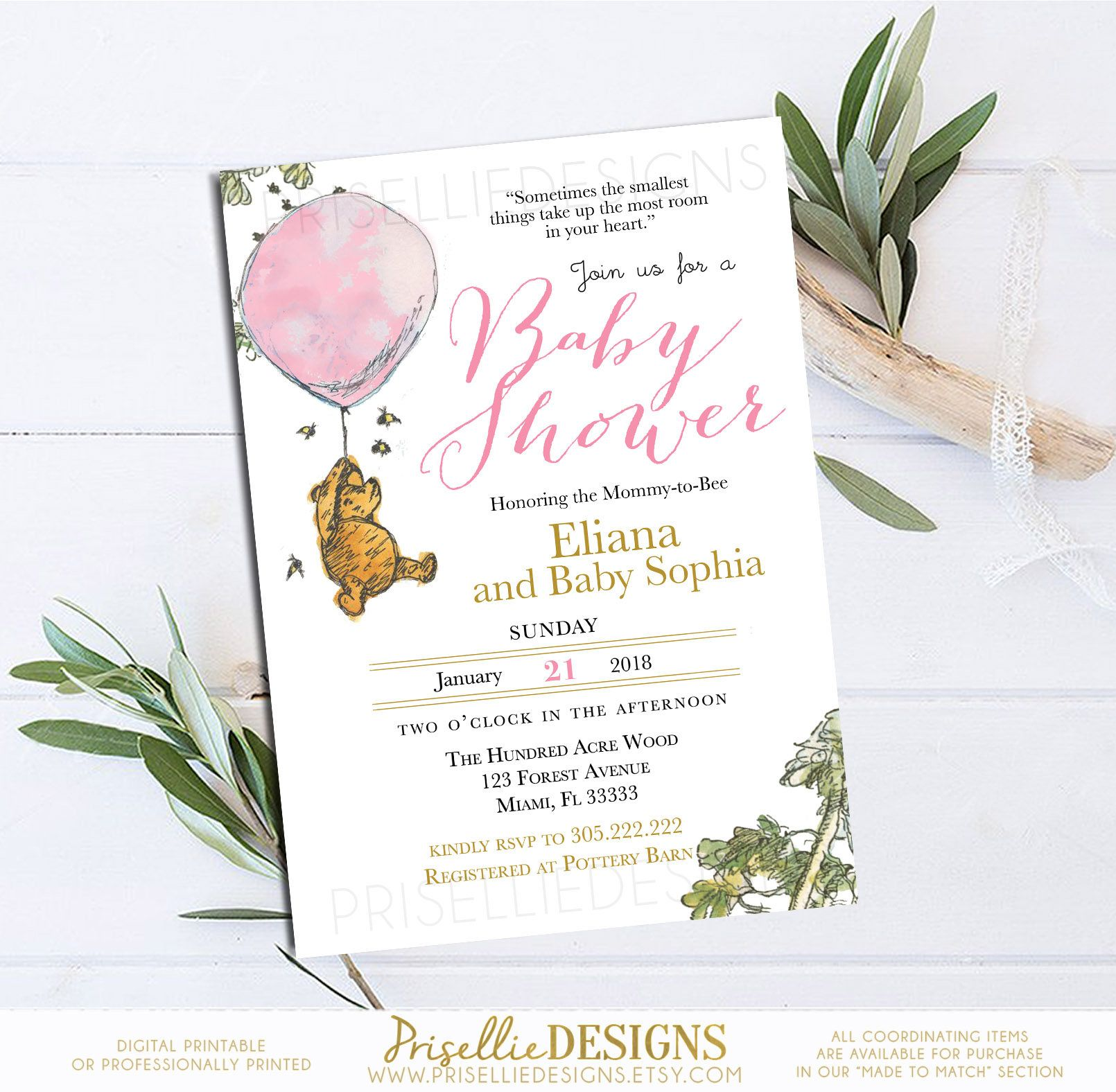 Winnie the Pooh Baby Shower Invitation, Classic Winnie the Pooh Baby ...
